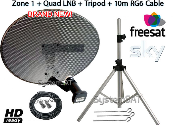 ZONE 1 & QUAD LNB & 10M SINGLE RG6 CABLE & TRIPOD