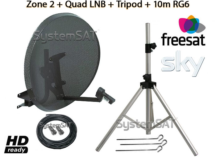 ZONE 2 & QUAD LNB & 10M SINGLE RG6 CABLE & TRIPOD