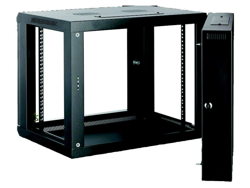 ALL-RACK Wall Cabinet 6U Black HINGED