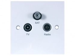 TRIAX Triplex Screened Outlet Plate UHF-FM/DAB-IF 1 In 3 Out