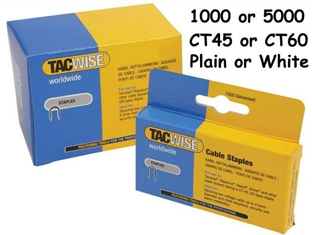 5 x 1,000 packs Tacwise CT-60//14mm White Cable Tacker Staples 5,000