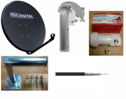 1.1m Motorised Satellite Dish 1.2 Motor, Wall Mount, Cable & LNB