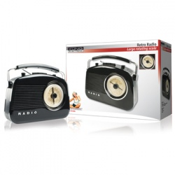 Konig retro design AM / FM radio Black with UK 3 Pin Plug