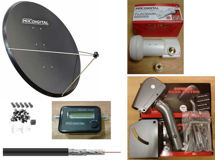1.25m Mix Digital Motorised Satellite Dish, Motor & LNB Dish Pack