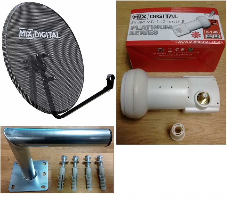60cm Mix Digital Mesh Satellite Dish, Wall Mount & Platinum 0.1dB LNB