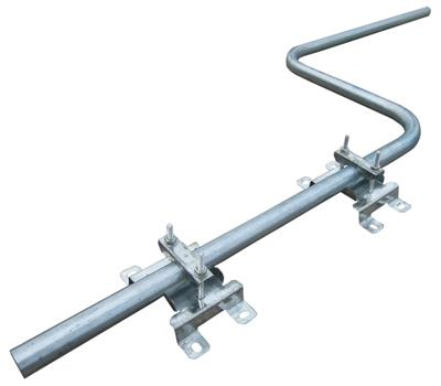 Short Steel Cranked Satellite Swan Neck Mast with Brackets & Clamps