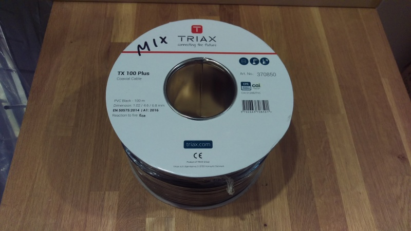 100m Triax TX100 Plus Black PVC Coaxial Cable