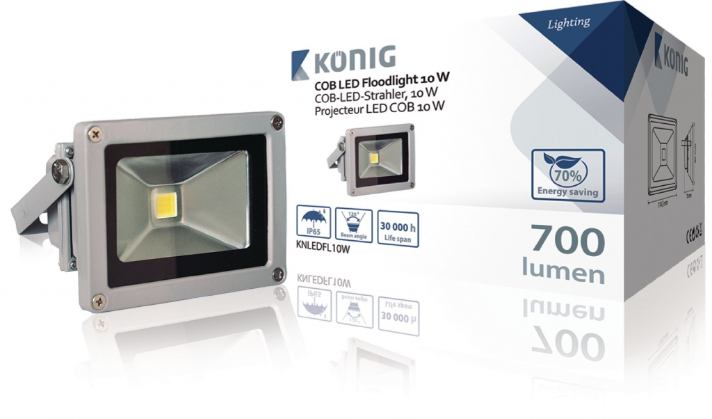 Konig LED Floodlight 10 W 700 Lumen COB - Indoor & Outdoor