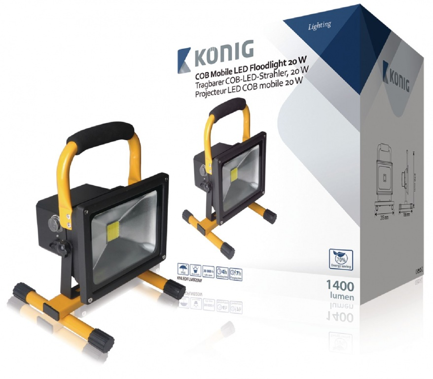 Konig Mobile LED Floodlight 20W 1400 Lumen COB with EU Plug