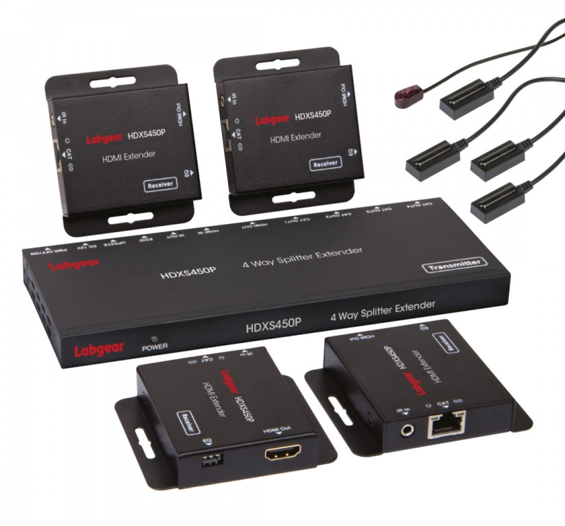 LABGEAR HDXS450P 50M 4 WAY HDMI SPLITTER EXTENDER KIT WITH POE OVER CAT 5E/6/7