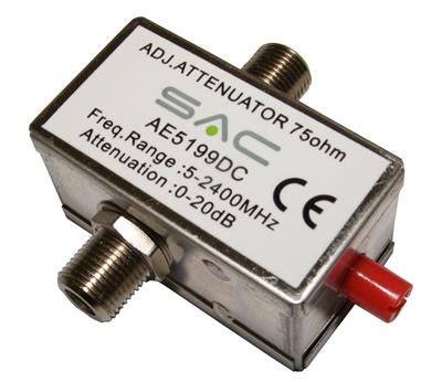 TV Variable Attenuator F (Dc Pass) 0 - 20dB Freeview Digital - 5 - 2400MHz