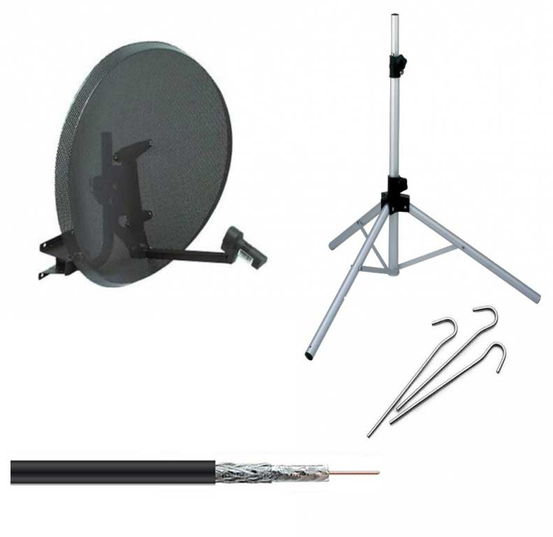 Zone 2 Portable Satellite Dish Kit System Camping Tripod & Quad LNB