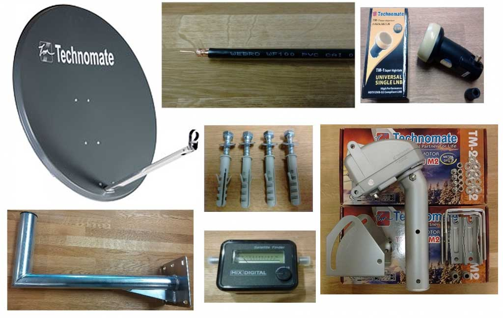 97cm Technomate Motorised Satellite Dish + Motor + LNB & Fiitings