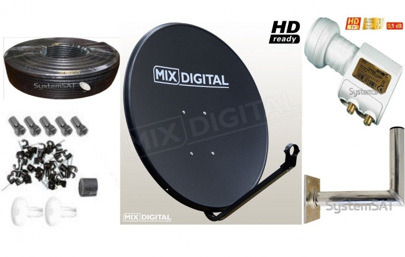 1m Mix Digital Solid Satellite Dish Kit with Twin Lnb, WM, Twin Cable + Fit