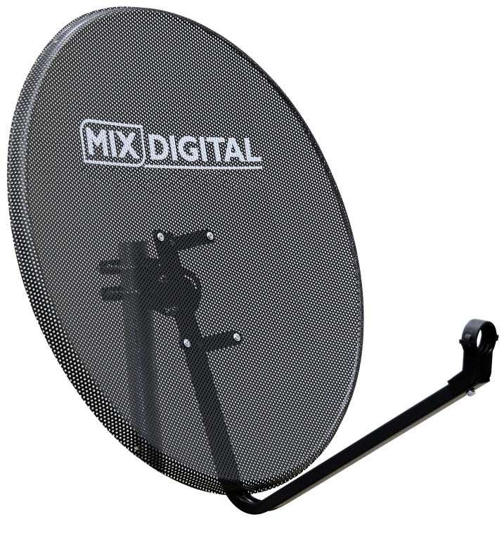 80cm Mix Digital Mesh Hi-Gain Satellite Dish & Pole Mount Fittings