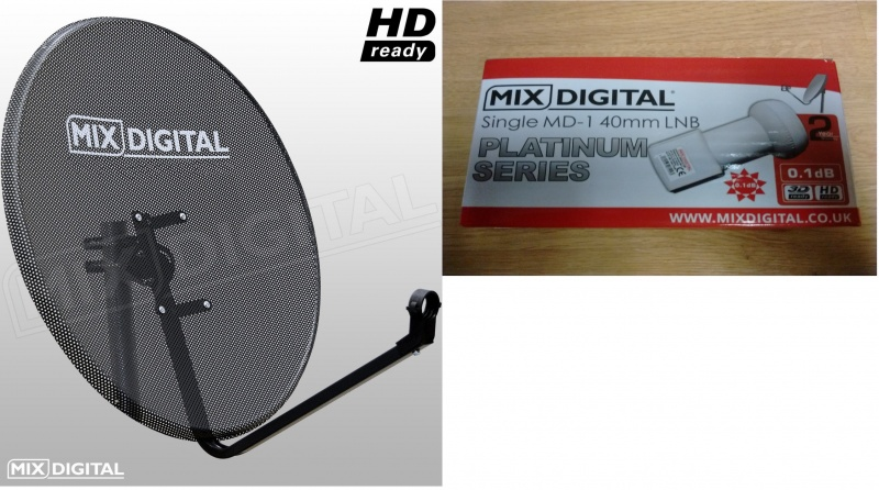 1m Mix Digital Mesh Satellite Dish with 0.1db LNB - 100cm