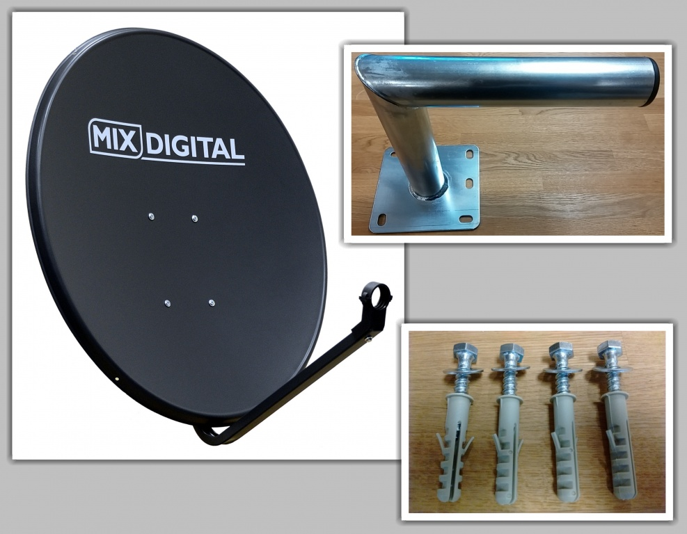 80cm Mix Digital Solid Satellite Dish & 250mm Wall Mount