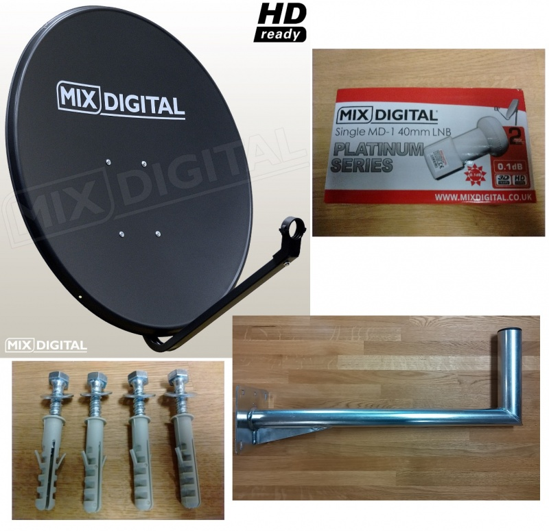 1m Mix Digital Solid Satellite Dish with 0.1dB LNB & 350mm WM