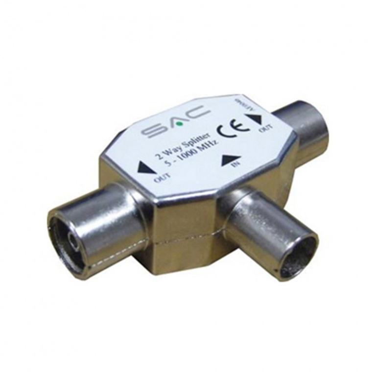 SAC Metal 2 Way TV Splitter IEC