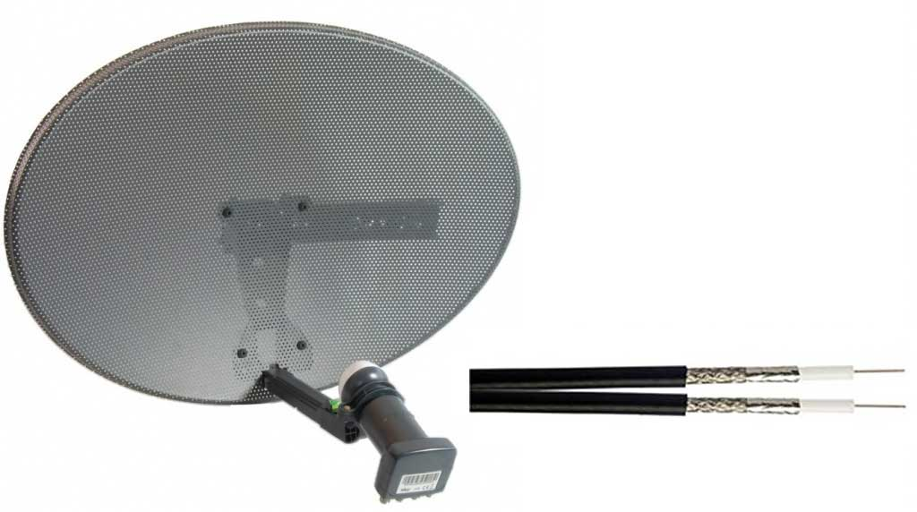 Zone 1 Satellite Mini Dish Pack with Quad LNB Twin Cable and Fittings