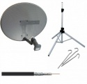 Zone 1 Portable Satellite Dish Kit System with Tripod, Quad LNB & Meter