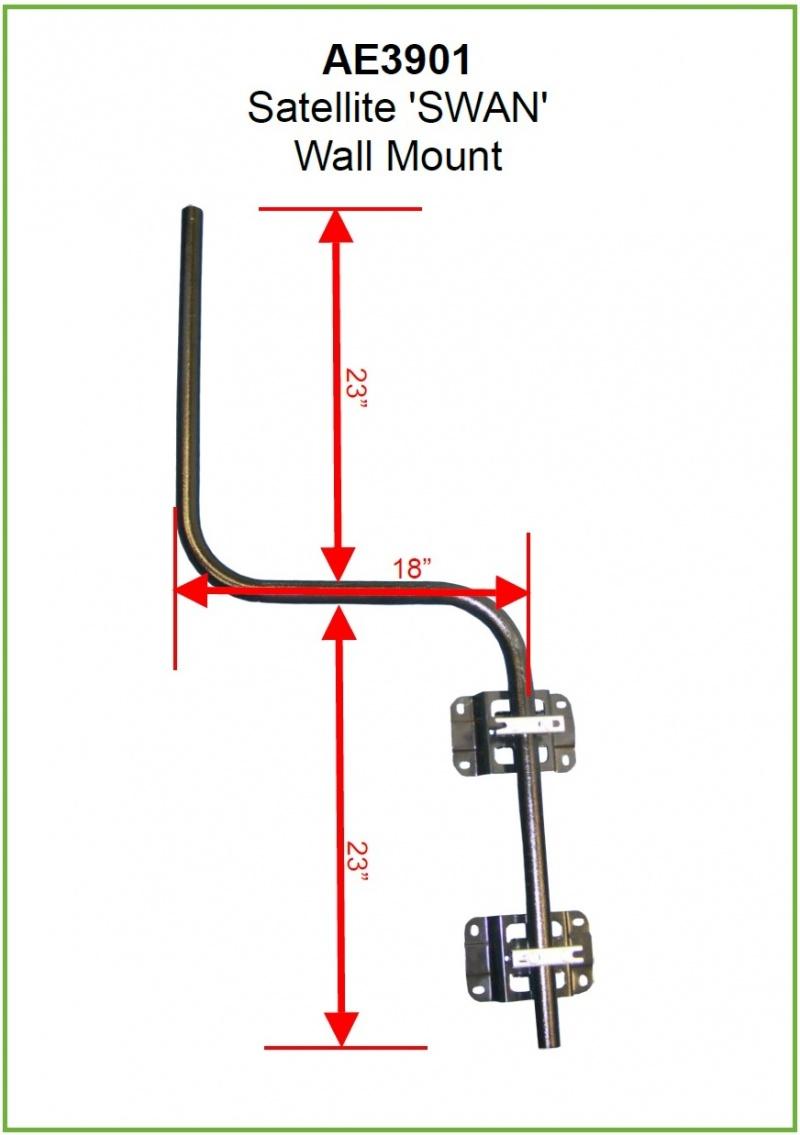 Short Steel Cranked Satellite Swan Neck Mast With Brackets
