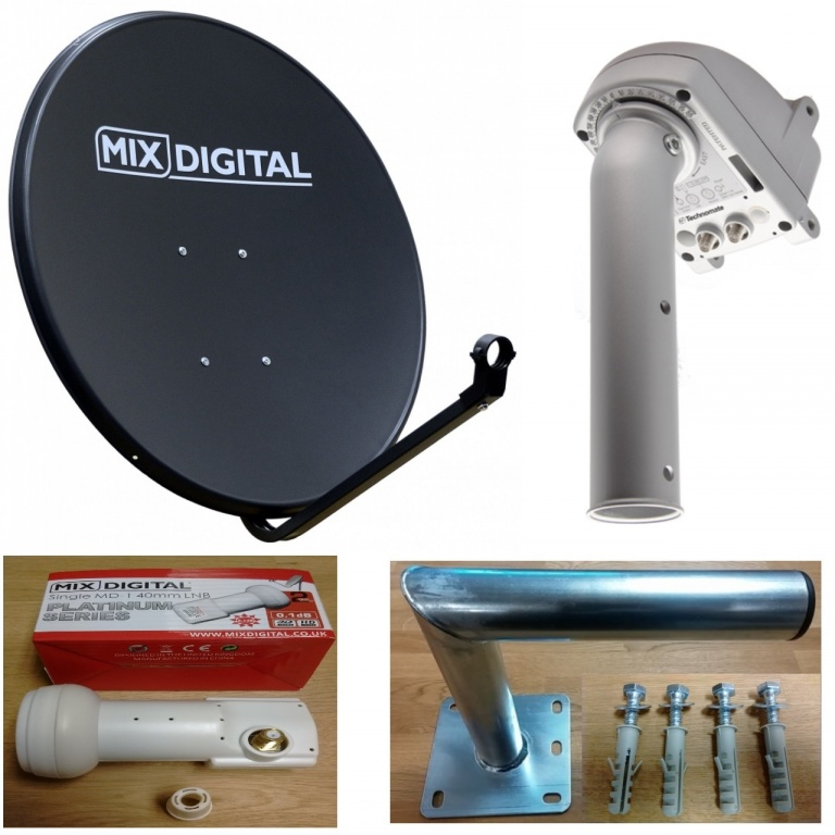 1.1m Basic Motorised Satellite Dish 1.2 Motor, Wall Mount & 0.1 LNB