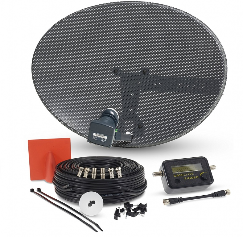Sky & Freesat Satellite Dish, Quad LNB, Sat Finder & Twin Cable Kit
